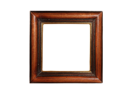 tableau: ancient beautiful wood painting frame isolated over white background