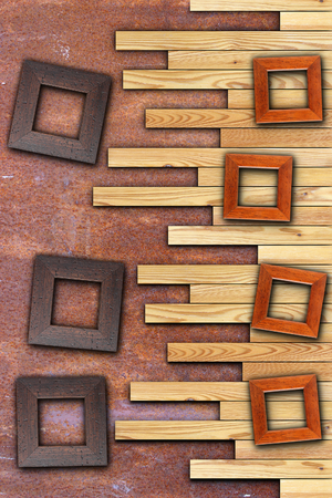 wood frames on abstract wall backdrop with space  for your design or message photo
