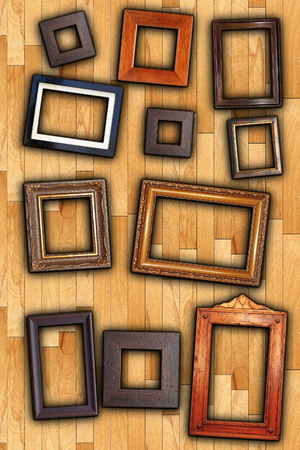 old painting wooden frames on wall backdrop photo