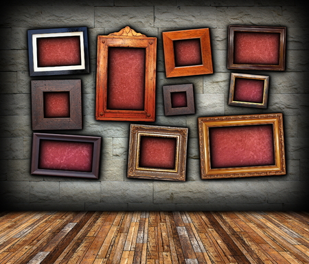 architectural backdrop with frames on stone wall and place  for your message, red blank canvas