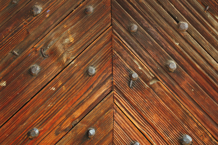 interesting pattern on wood door of romanian traditional church photo