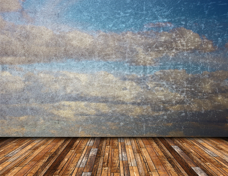 abstract view of distressed beautiful  sky from vintage wooden  terrace, nature backdrop photo