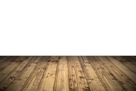 blank isolated wooden veranda ready for your design, white horizon Standard-Bild