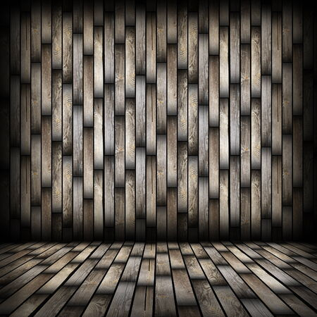 dark wood planks finishing on interior backdrop, architectural room background for your design with wooden floor and wall photo