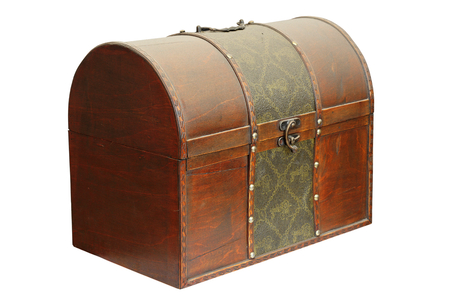 closed old wooden treasure box isolated over white photo