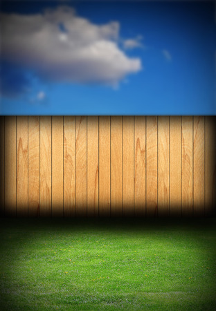 spruce fence in backyard, natural backdrop with green lawn and blue sky photo