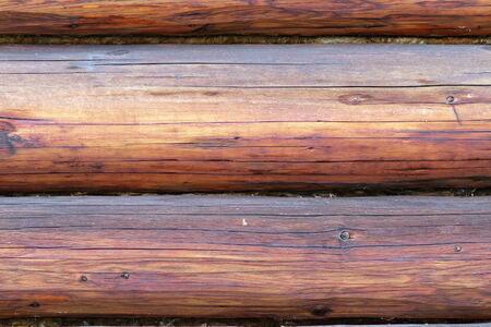 close up of exterior spruce beams on wooden lodge Stock Photo