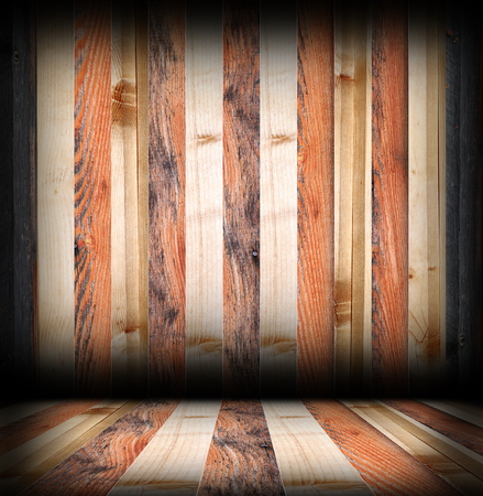 striped wooden boards finishing on interior room backdrop, floor and wall photo