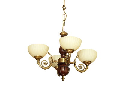 lustre: vintage chandelier made from metal and wood, isolated over white background Stock Photo