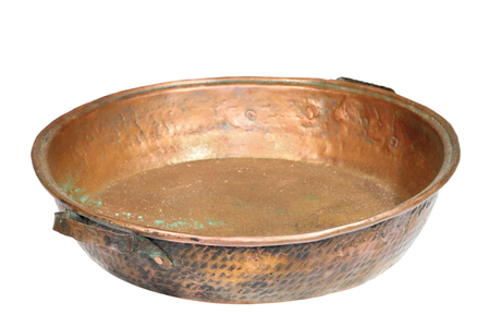 bronze bowl: bronze ancient cauldron isolated over white  Stock Photo