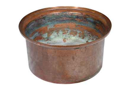 bronze bowl: corroded old copper container isolated over white
