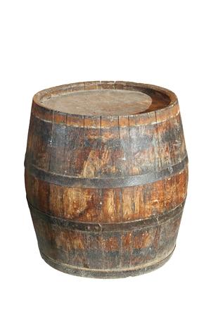 白で分離された非常に古い木製のワイン樽 写真素材