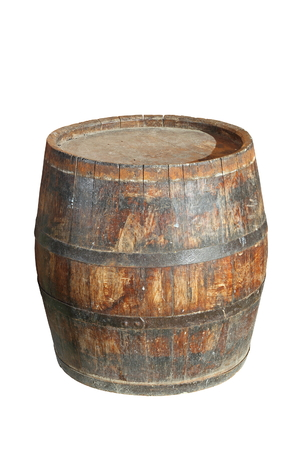 fermenting: very old wooden wine barrel isolated over white  Stock Photo