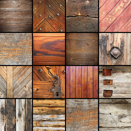 exterior architectural details: collection of details on architectural wooden elements, wood textures