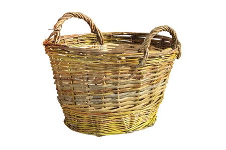 wickerwork: handmade wattle basket isolated over white background
