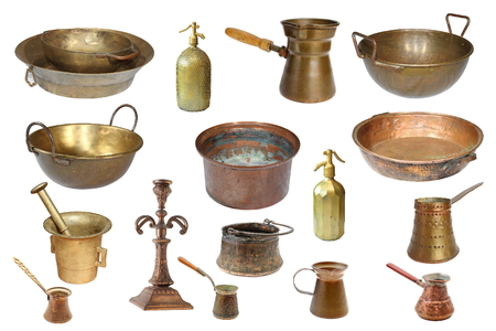 large group of items: collection of vintage copper objects isolated over white background