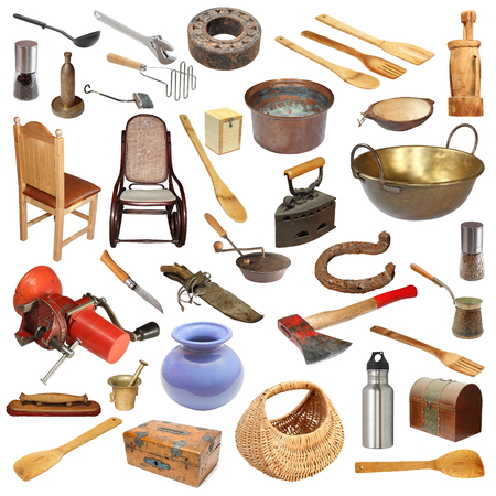 large group of items: collage with large number of vintage objects isolated on white background, ready for your design