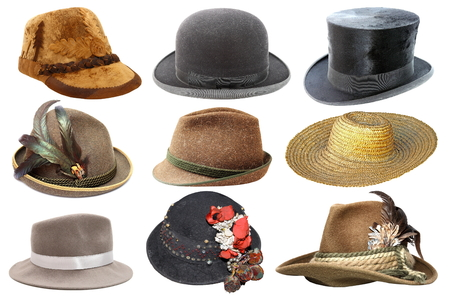 fedora hat: collage with different hats isolated over white background Stock Photo