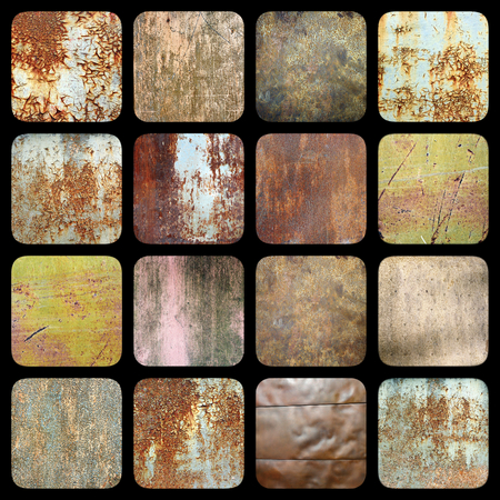 metal textures: collection of interesting rusty metal textures, grungy surfaces for your design Stock Photo
