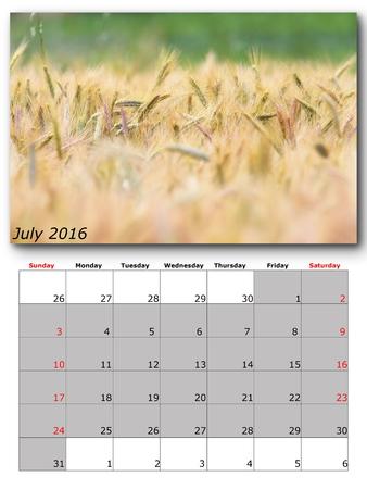 calendario julio: La página de Calendario julio imagen de la naturaleza con Foto de archivo
