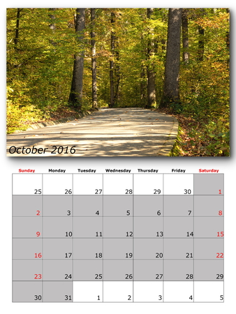 october: october calendar page with nature image