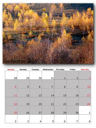 nature image: september calendar page with nature image