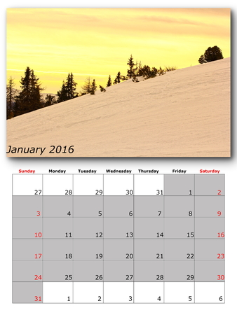 for print: january nature calendar page layout for print