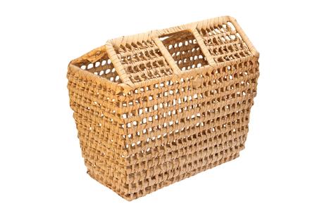 over white: handmade trellis basket isolated over white background