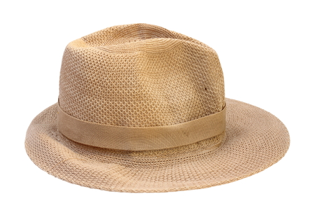 summer hat: beige straw hat isolated  over white background Stock Photo