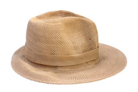 hombre con sombrero: sombrero de paja de color beige aislados sobre fondo blanco