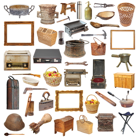 vintage riffle: collection of vintage objects isolated over white background Stock Photo
