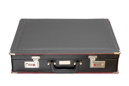 black briefcase: old black briefcase isolated over white background