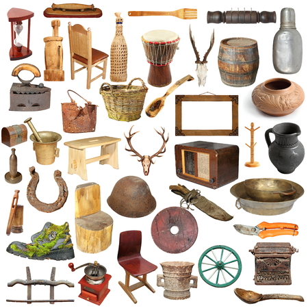 real trophy: large collection of different vintage objects isolated over white background ready for your design