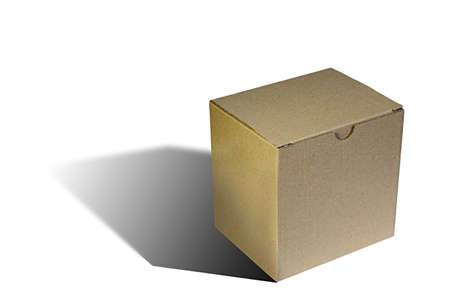 paperboard: simple carton box over white with shadow