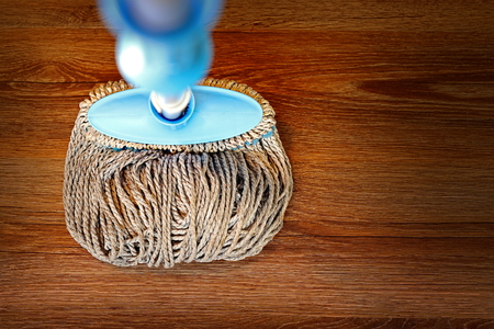cleaned: wooden parquet cleaned with a mop, textural image Stock Photo