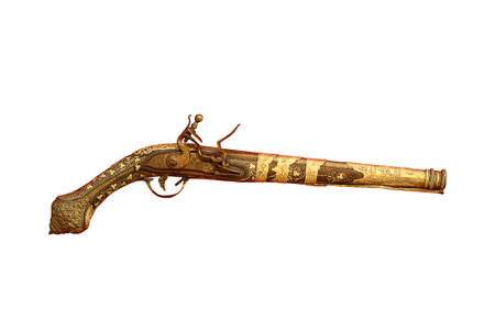 vintage riffle: very old pistol isolated over white background