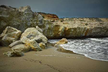 beautiful beach with rock formations in Milos island, Greece