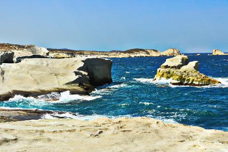 Sarakinoki beach in Milos island on a windy day, one of the most beautiful fron Greece