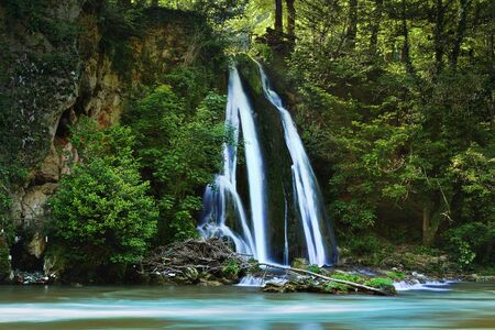 beautiful waterfall at Vadu Crisului, Apuseni mountain, Romania 스톡 콘텐츠