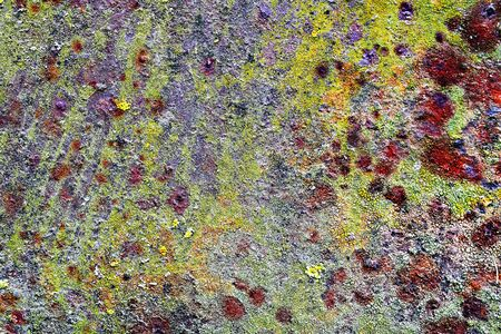 rust and moss on old metal surface, texture of damaged metallic board
