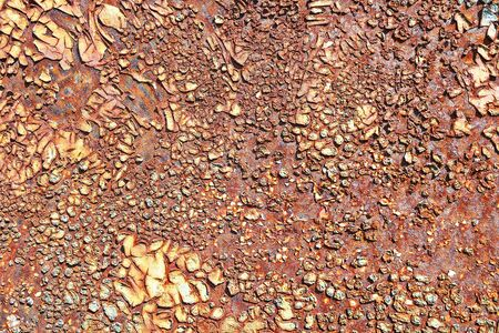 rusty surface of metallic board, effects of weather exposure
