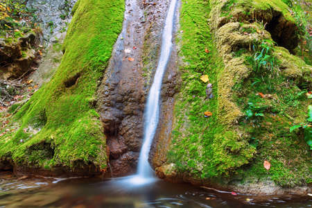 Susara waterfall flowing over mossy rock, image taken in Romania
