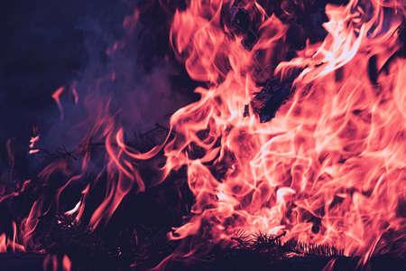 closeup of fire blaze, detail of night photography, vintage look Standard-Bild