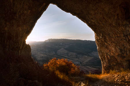 beautiful view from cave at dawn, Remetea, Apuseni mountains Standard-Bild