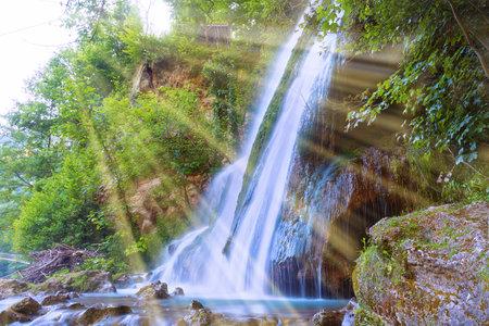 Vadu Crisului beautiful waterfall in Apuseni mountains, Romania Standard-Bild