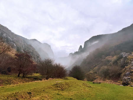 Cheile Turzii gorges in Apuseni, viewed in a foggy day Standard-Bild