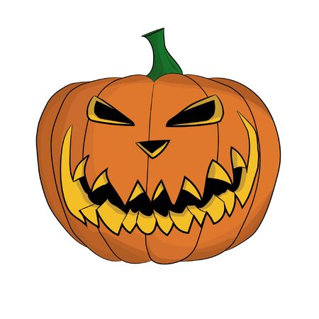 Isolated jack-o'-lantern carved from pumpkin for Halloween.