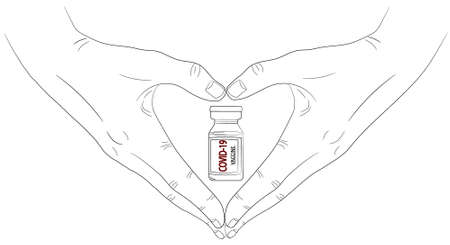 Isolated hands that show shape oh heart with vaccine against the virus Covid-19 ampoule in bottle around it