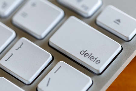 delete button: Close up of delete button on white keyboards Stock Photo