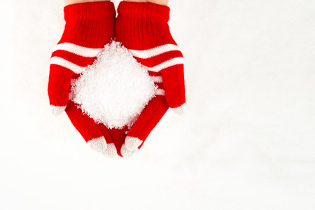 Christmas card, gloves on hands holding snow isolated on a white background with space for text